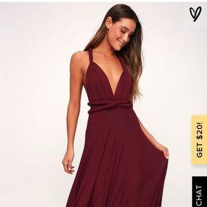 Lulu's Tricks of the Trade Burgundy Maxi Dress
